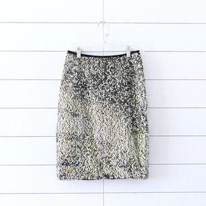 Carmen Marc Valvo Green Silver Sequin Pencil Skirt